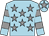 Light blue, grey stars, hooped sleeves and star on cap