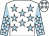 White, light blue stars, light blue sleeves, white stars and stars on cap (John Conroy Jaqueline Conroy)