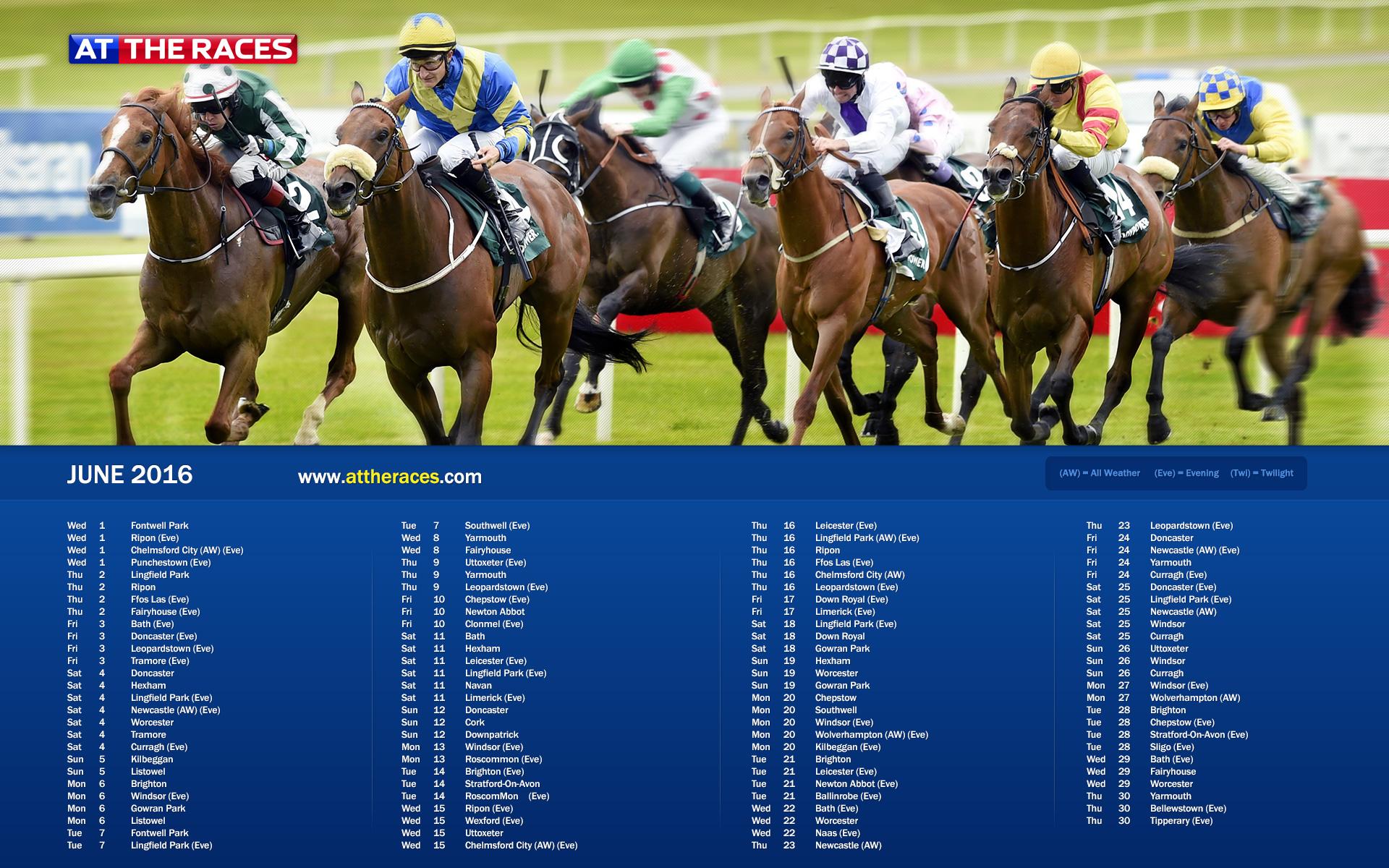 Racing Calendar June : At the races calendar