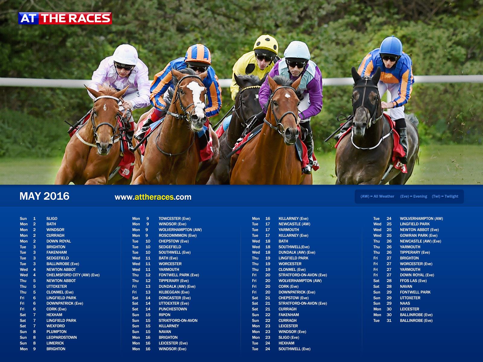 Racing Calendar May : At the races calendar